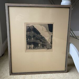 1940s Morris Henry Hobbs IRON LACE Old New Orleans Ltd Ed Etching Print Signed