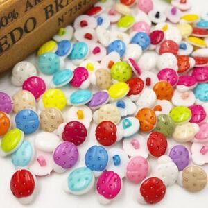 New 50/100pcs Plastic Ladybug Buttons backhole sewing lots PH77