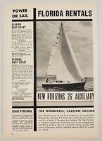 1961 Print Ad New Horizons 26`' Auxiliary Sailboats Ray Greene & Co.