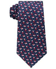 NEW $69 TOMMY HILFIGER NAVY BLUE SANTA HATS DOTTED 100% SILK NECK TIE ONE SIZE