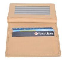 Elegant Beige Pure Leather Card & Coin Holder 11 Pockets Unisex