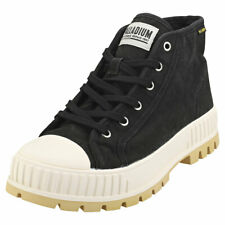 Palladium Pallashock Mid Og Mens Black White Textile Fashion Boots