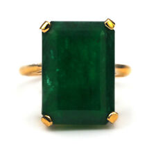 Solitary Emerald Ring 9.16 Cts Natural Emerald cut set on 14k yellow gold