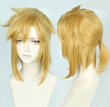 The Legend of Zelda Link Short Golden Yellow Cosplay Pony tail Wig + Track + Cap