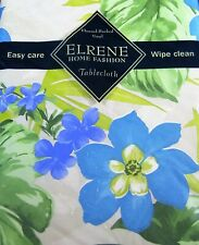 Tropical Blue Flowers  Vinyl Tablecloth Assorted Sizes Square, Oblong & Round
