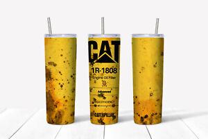 20oz skinny Stainless steel tumbler Caterpillar oil theme