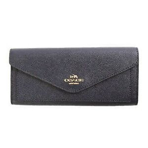 NWT Coach Crossgrain Leather Wallet Navy Blue Free Shipping