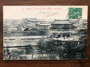 CHINA OLD POSTCARD CHINESE IMPERIAL CITY PEKING TO FRANCE 1908 !!