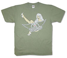 AEROSMITH - NUDE PIN-UP BLONDIE GIRL GREEN T-SHIRT - NEW X-LARGE XL