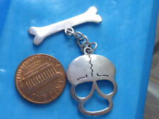 STERLING SILVER SKULL AND BONES CHARM OR PENDANT STERLING STAMPED SILVER