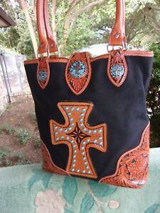 Western Cross Stud Turquoise Leather Canvas Tote handbag