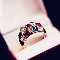 Extravaganter Elegant Design Damen Ring Gold Plated Bunt Kristall Ring Geschenk