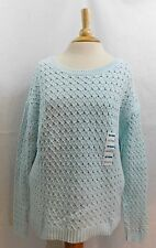 Old Navy Mint Green Cable Knit Chunky Waffle Pullover Sweater Crew Neck Size M