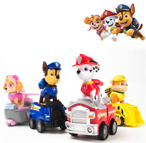 Paw Patrol Assemble Pull Back Car Marshall Rubble Chase Skye Playset Kids Gift