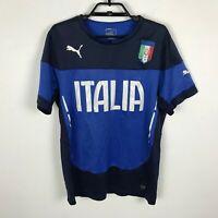 Puma Soccer Shirt Mens Size M Italia FIGC Blue Short Sleeve Polyester