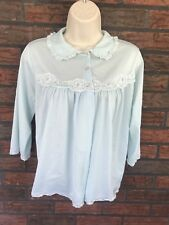 Pinehurst Lingerie Blue Button 100% Nylon Pajamas Top 3/4 Sleeves Lace Trim VTG