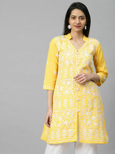 Diwali Lucknawi Chikankari Cotton chikan Kurti casual embroidery Kurta shirt.