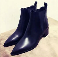 Fashion Womens Pointed Toe Chelsea Black Low Heel Ankle Boots Shoes Bootie New