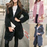 Winter Women Warm Long Sleeve Parka Faux Fur Coat Overcoat Fluffy Jacket Outwear
