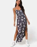 MOTEL ROCKS Hime Maxi Dress in White Rose Grey S Small  (mr19)