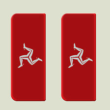 2x Isle of Man Full Flag - Gel Domed Number Plate Badges/Decals 107x42mm