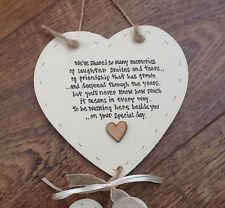 Shabby personalised Gift Chic Double Heart Plaque Gift For Bride From Bridesmaid