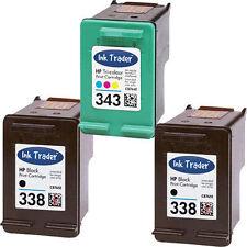 2x HP 338 Black & 1x 343 Colour Ink Cartridge for Photosmart 2575 Printers
