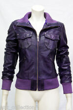 Portland Purple Ladies Woman Bomber Washed Real Sheep Lamb Nappa Leather Jacket