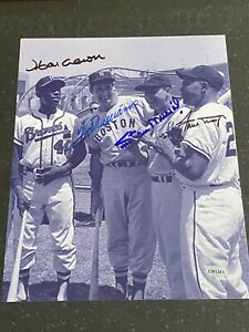 Hank Aaron Ted Williams Stan Musial Willie Mays signed 8x10 photo with coa