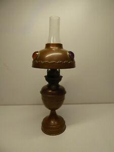 ARTS CRAFTS BRASS PETROL LAMP GEMS STONE DECORATION ART DECO AUSTRIA