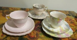 ART DECO PRETTY IN PINK 3 CUP/SAUCER/PLATE TRIOS-ROYAL STANDARD DIANA/AYNSLEY