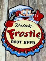 "VINTAGE ""DRINK FROSTIE ROOT BEER W/ ELF"" 12"" BAKED METAL SODA POP GAS & OIL SIGN"