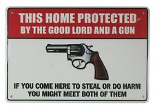 US SELLER, house decor shops This home protected by good lord gun tin metal sign
