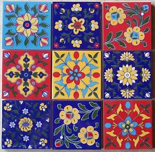 9 Mix colorful handmade Ceramic pottery Mediterranean Tiles Monaco design 4x4""