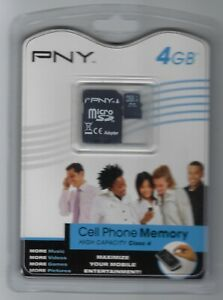 PNY 4GB MicroSDHC Card - P-SDU4GB4-FS - New Sealed Package