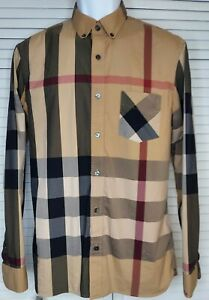 Burberry London Men's Casual LS Thornaby Camel Check Button Down Shirt LG~Flaw