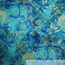 BonEful Fabric FQ Cotton Quilt Blue Aqua Gold Metallic Peacock Bird Fish Flower