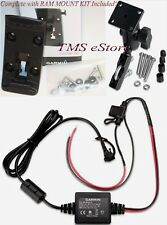 Motorcycle Mount, Cradle & Power Cord for Garmin Zumo 350LM 390LM 395LM 396LMT-S