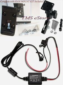 Garmin Zumo 395LM 396 LMT-S Clutch/Handlebar Mount & Bracket with Power Cord