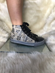 Moschino fabric / black patter leather laced up, keds style ankle boots. Size 36