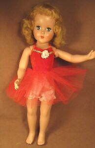 """Vintage Doll Dress for 14""""- 16"""" Doll - Red Velvet & Net Tutu"""