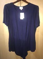 ECI New York Women's Navy Asymmetric Short Sleeve Pullover Long Top Shirt Sz XL