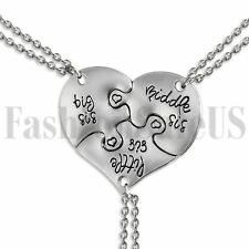 3 Piece Silver Tone Big Middle Little Sister Heart Family Pendant Necklaces Set