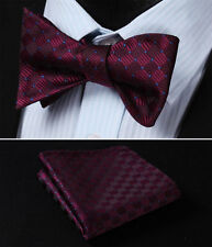 BC1017US Burgundy Blue Check Bowtie Men Silk Self Bow Tie handkerchief set