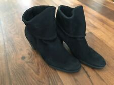 Women's Arche France Black Foldover Leather Heeled Ankle Boots Size EU 38.5