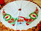 Vintage Christmas Tree Skirt White Felt Santa Candles Pinecones 34 1/2' Diameter