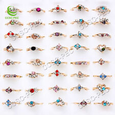 Gros Lots 50pcs Mixed exquise Cristal Strass Gold Filled Femme Anneaux