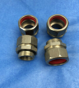 Stainless Steel Cable Gland, Nipple 20mm. Pack of 4.