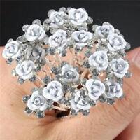 20x mariée broches de mariage rose fleurs en cristal épingle femmes bijouxRD