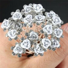20x Bridal Wedding Pins Rose Flower Crystal Hairpin Women's Jewelry Hair Clip CH